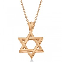 Classic Jewish Star of David Pendant Necklace Solid 14k Rose Gold