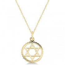 Star of David Pendant for Women Framed in Carved Circle 14k Yellow Gold