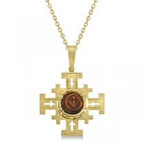 Jerusalem Cross Pendant w/ Authentic Widow�s Mite Coin 14K Yellow Gold