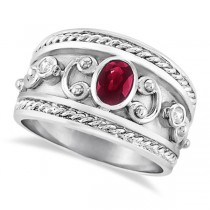 Oval Shaped Ruby & Diamond Byzantine Ring Sterling Silver (0.73ct)