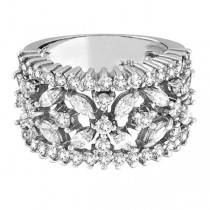 Marquise & Round Diamond Flower Ring in 18K White Gold (2.34 ctw)