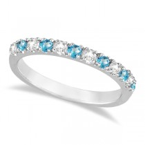 Diamond & Blue Topaz Ring Anniversary Band 14k White Gold (0.32ct)