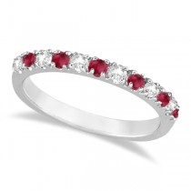 Diamond and Ruby Ring Guard Anniversary Band 14K White Gold (0.37ct)