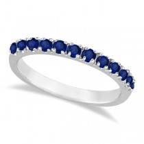 Blue Sapphire Stackable Ring/ Anniversary Band in 14k White Gold