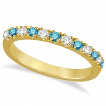 Blue & White Diamond Stackable Ring Band 14k Yellow Gold (0.25ct)