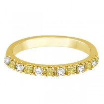 Yellow Canary & White Diamond Stackable Ring Band 14k Gold (0.25ct)