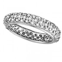 Pave Set Three Row Eternity Diamond Ring Band 14K White Gold (1.58ct)