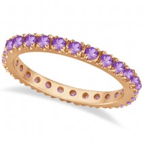 Amethyst Eternity Stackable Ring Band 14K Rose Gold (0.75ct)