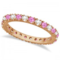 Diamond & Pink Sapphire Eternity Band Stackable 14k Rose Gold (0.63ct)