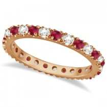 Diamond and Ruby Eternity Band Stackable Ring 14K Rose Gold (0.51ct)