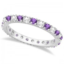 Diamond and Amethyst Eternity Ring Guard Band 14K White Gold (0.64ct)