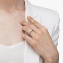Diamond and Garnet Eternity Band Stackable Ring 14K White Gold (0.51ct)