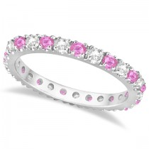 Diamond & Pink Sapphire Eternity Ring Stackable 14k White Gold (0.63ct)