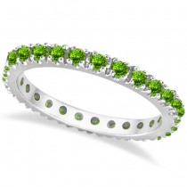 Peridot Eternity Stackable Ring Band 14K White Gold (0.75ct)