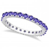 Tanzanite Eternity Stackable Ring Band 14K White Gold (0.75ct)