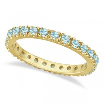 Aquamarine Eternity Stackable Ring Guard Band 14K Yellow Gold (0.50ct)