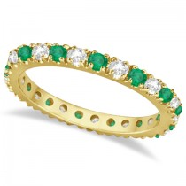 Diamond and Emerald Eternity Ring Guard Band 14K Yellow Gold (0.64ct)