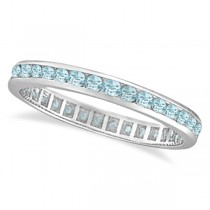 Aquamarine Channel-Set Eternity Ring Band 14k White Gold (1.08ct)