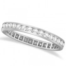 Channel Set Diamond Eternity Ring Band 14k White Gold (1.00 ct)