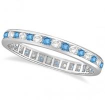 Blue Topaz & Diamond Channel-Set Eternity Ring 14k White Gold (1.00ct)