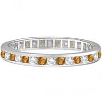 Citrine & Diamond Channel-Set Eternity Ring 14k White Gold (1.00ct)