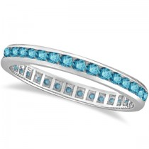 Channel-Set Fancy Blue Diamond Eternity Ring 14k White Gold (1.00ct)