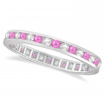 Pink Sapphire & Diamond Channel Set Eternity Band 14k W. Gold (1.04ct)