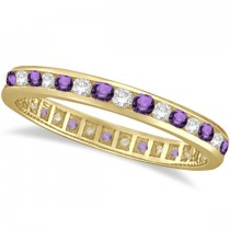 Amethyst & Diamond Channel Set Eternity Band Ring 14k Yellow Gold (1.04ct)