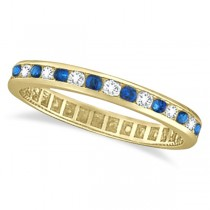 1.04ct Blue Sapphire & Diamond Channel Set Eternity Band 14k Yellow Gold