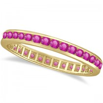 Pink Sapphire Channel Set Eternity Band 14k Y. Gold (1.04ct)