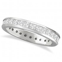 Channel-Set Princess Cut Diamond Eternity Ring 14k White Gold (1.56ct)