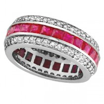 Princess Ruby and Diamond Eternity Ring 14k White Gold (5.70ctw)
