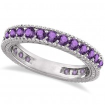Amethyst Eternity Ring Anniversary Ring Band 14k White Gold (1.16ct)