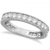 Diamond Eternity Milgrain Edged Ring Band 14k White Gold (1.00ct)