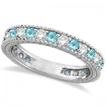 Diamond & Aquamarine Eternity Ring Band 14k White Gold (1.08ct)