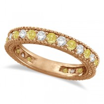 Fancy Canary Yellow & White Diamond Eternity Ring 14k Rose Gold (1.00ct)