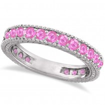 Pink Sapphire Eternity Ring Anniversary Band 14k White Gold (1.16ct)