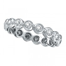 Bezel-Set Diamond Eternity Ring Band 14k White Gold (1.00ct)