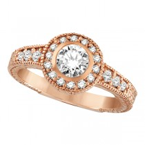 Antique Style Halo Diamond Ring Bezel Set 14K Rose Gold (0.80ct)
