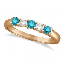 Five Stone White and Blue Diamond Ring 14k Rose Gold (0.50ctw)