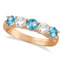 Five Stone Diamond and Blue Topaz Ring 14k Rose Gold (1.92ctw)