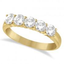 Five Stone Diamond Ring Anniversary Band 18k Yellow Gold (1.00ct)