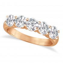 Five Stone Diamond Ring Anniversary Band 14k Rose Gold (2.00 ctw)