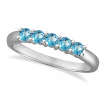 Five Stone Blue Topaz Ring 14k White Gold (0.79ctw)