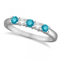 Five Stone White and Blue Diamond Ring 14k White Gold (0.50ctw)