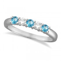 Five Stone Diamond and Blue Topaz Ring 14k White Gold (0.67ctw)