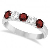 Five Stone Diamond and Garnet Ring 14k White Gold (1.36ctw)