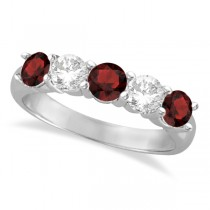 Five Stone Diamond and Garnet Ring 14k White Gold (1.92ctw)