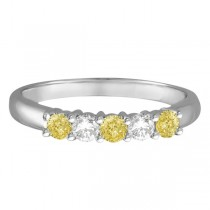 Five Stone White & Fancy Yellow Diamond Ring 14k White Gold (0.50ctw)