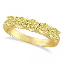Five Stone Fancy Yellow Canary Diamond Anniversary Ring 14k (1.50ct)